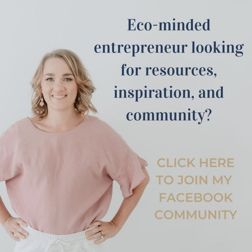 Mel Bruce with the words eco-minded entrepreneur looking for resources, inspiration, and community? Click here to join my Facebook community