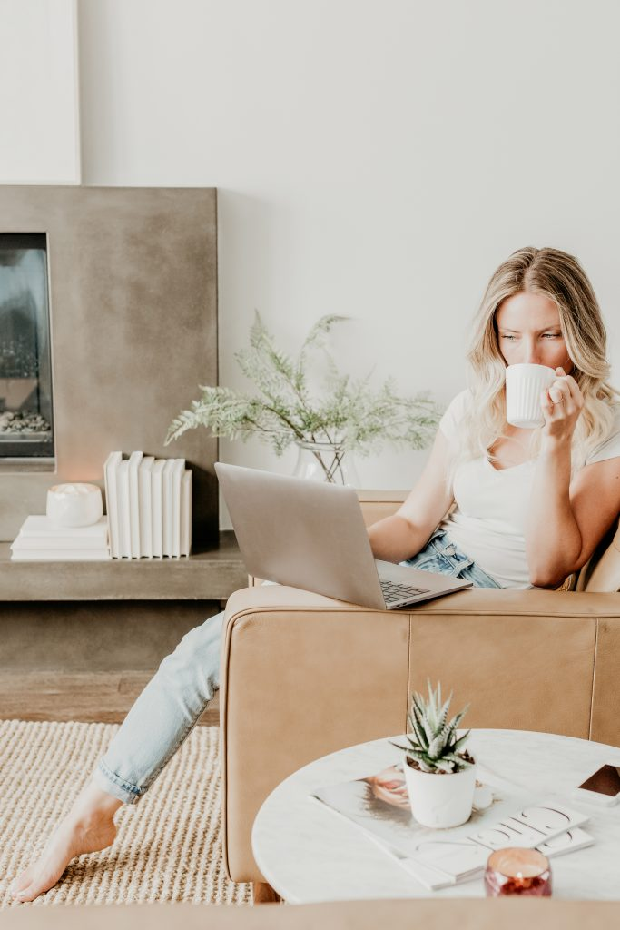 Woman relaxed working on her business