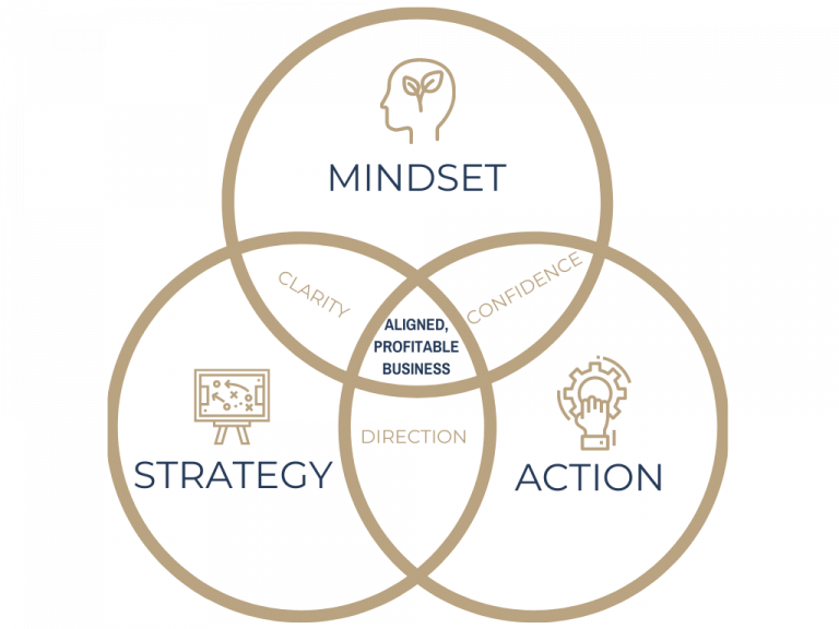 Venn diagram. 3 circles with the words mindset, strategy and action. Overlapping sections contain the words clariety, confidence and direction. In the centre it says aligned, profitable business